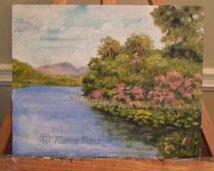 I painted this from a photo I took while visiting Kylemore Abbey in Ireland.  Beautiful there.
