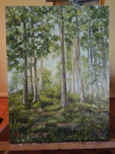 Painting of a grove of trees in Ireland